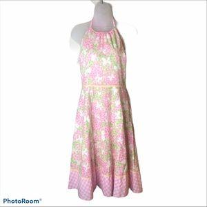 Lilly Pulitzer Pink Gossip Vtg Halter Dress Sz 8
